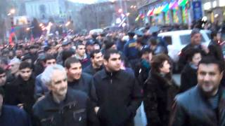 Opposition supporters demonstrate and march in Yerevan, 1 March 2011[i]