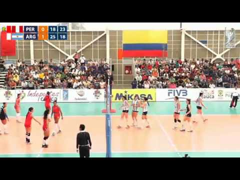 Sudamericano de Voleibol Femenino Sub 22 Popayán 2014 - Perú vs  Argentina