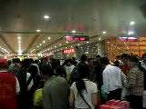 Dense crowd at Shanghai Railway Station Video
