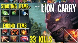 0 Min Power Trade Carry Lion 33 Kills No Finger Challenge | Dota 2 Silly Builds