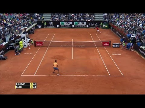 Outrageous set point between Nadal and Djokovic in Rome!