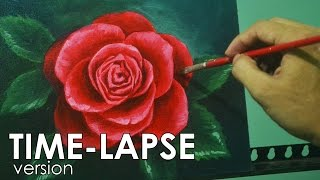 Time-lapse Acrylic Painting Demo - Red Rose by JM Lisondra