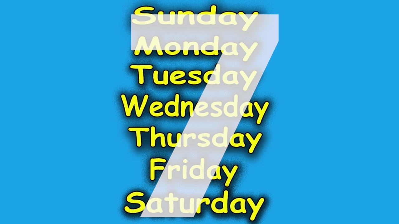 Days Of The Week Song 7 Childrens