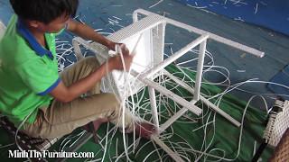 Hướng dẫn đan ghế quầy bar mây nhựa tại xưởng đan mẫu nội thất Minh Thy