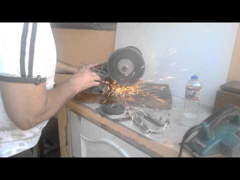Afiador de faca de plaina , feito com trilho de maquina de escrever