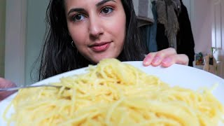 ASMR | PASTA ALFREDO | CHEESY | no talking | eating sounds | chewing sounds | breeze asmr