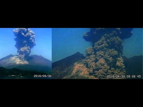 4/30/2016 -- Sudden large volcanic blast in South Japan ( Kyushu ) at Mt. Sakurajima
