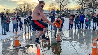 Braun Strowman jumps into a frozen lake for charity