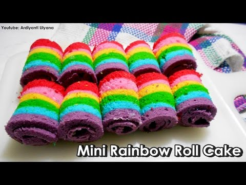 Cara Membuat Mini Rainbow Roll Cake