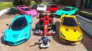 GTA 5 - Stealing Luxury Ferrari Cars with Michael! (Real Life Cars #06)