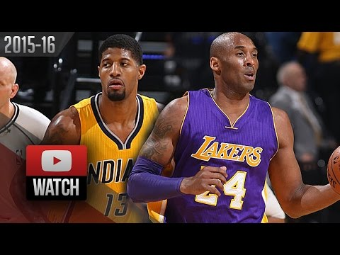 Paul George vs Kobe Bryant LAST DUEL Highlights (2016.02.08) Pacers vs Lakers - SICK!