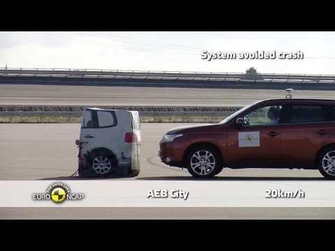 Mitsubishi Outlander -Euro NCAP 2013, тест системы автоматического торможения