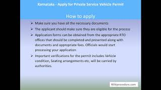 Karnataka - Apply For Private Service Vehicle Permit