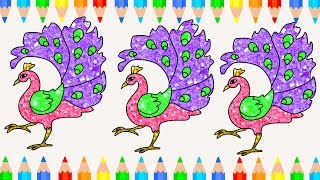 Peacock coloring pages for kids l Wild animals for kids to learn colors