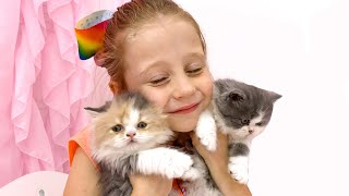 Nastya has two little kittens