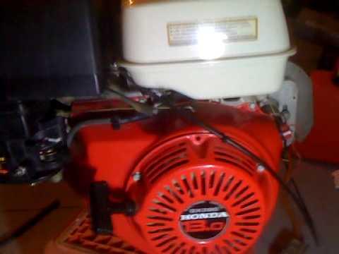 Honda GX390 13 hp engine test cold start - YouTube
