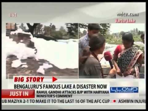 Bangalore Residents Outrage: Water contaminated, White Foam spilling over road near Lake.