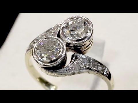 1.15 ct Diamond, 14 ct Yellow Gold Twist Ring - Antique Circa 1930 A5350
