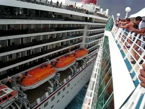 Carnival Legend crashes into Royal Caribbean Enchantment of the Seas Part 2 Cruise Ships  Crash