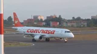 Landing  Embraer 190-100AR  Conviasa Airlines (Whitout Thrust Reverses) @Maturin Airport