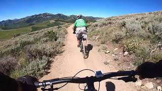 Holy Roller Trail at Deer Valley with Julie Riding in the lead