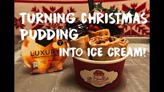 🎄 Christmas Pudding turned into Ice Cream Rolls - Oddly Satisfying - Sally's Hand Rolled Ice Cream 🎄