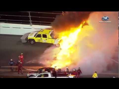2012 NASCAR Daytona 500 Juan Pablo Montoya crashes into jet dryer under caution