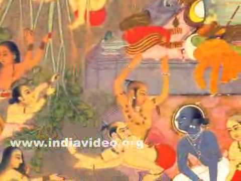 Krishna and his friends sporting in the river