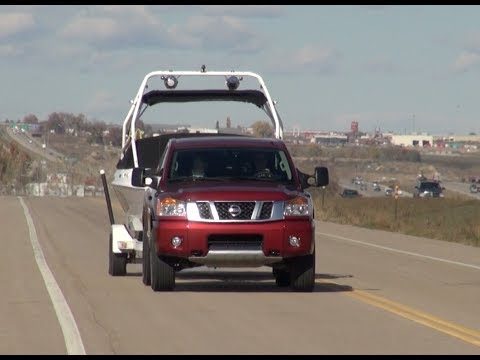 2014 Nissan Titan vs GMC Sierra 5.3L vs Chevy Silverado 6.2L Towing Matchup Test (Part 2)