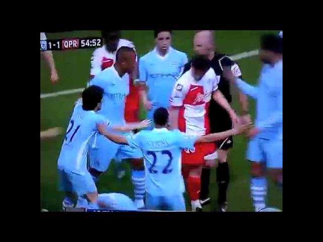 Joey Barton Vs Man City - Elbows Tevez, Kicks Aguero, Headbutts Kompany! FULL CLIP With Slowmotion!