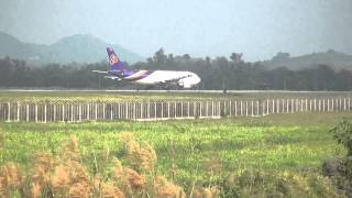 Rc Chiangrai Thailand  Air Asia landing - Thai Airway and Nok Air take off at Mae Fha Laung Airport