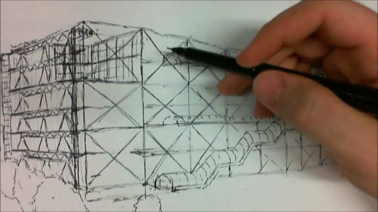 Architectural Sketch - Pompidou Centre - YouTube