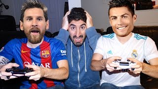 RONALDO PLAYS FIFA 18 WITH MESSI | Footy Friends