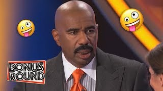 BIG BALD HEAD! Steve Harvey Asks BALD Questions on Family Feud USA!