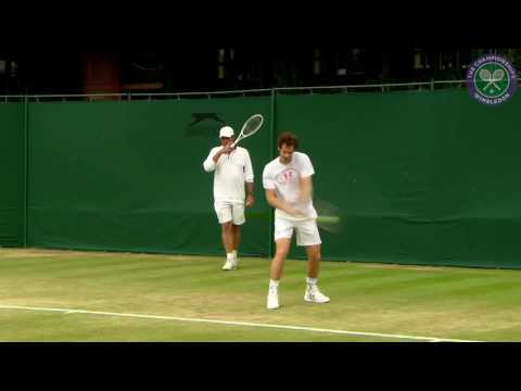 Andy Murray on practice court ahead of seventh Wimbledon semi-final