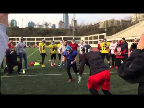 Turkish Reporter Tries hand at American Football...not sure he will be playing much more