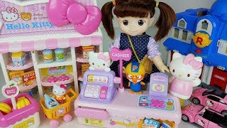 Baby doll Shopping and Hello Kitty Supermarket toys mart food cash register play - 토이몽