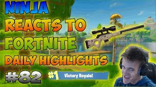 Ninja Reacts To Twitch Moments' Fortnite Daily Highlights #82!