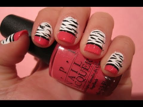 Tutorial: Zebra Nail Art with Hot Pink Tips