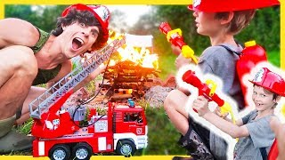 Fire Trucks for Children | Fireman Axel Puts Out Real FIRE!!🔥