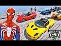 CARROS com Homem Aranha e Heróis! Desafio Aéreo com Carros na Rampa- GTA V Mods - IR GAMES