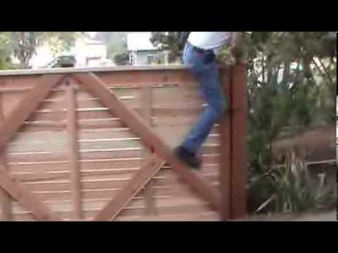 10 Wide Single Swinger Horizontal Wood Driveway Gate With