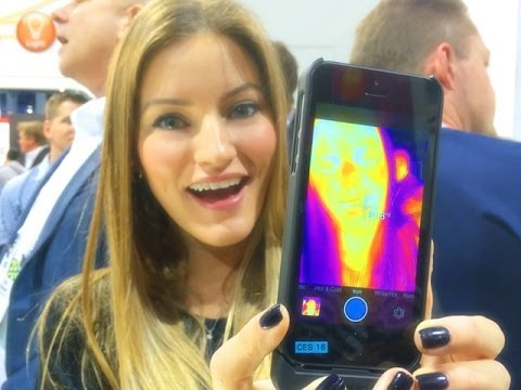 Thermal Imaging for you iPhone! FLIR ONE iPhone 5S Demo at CES 2014