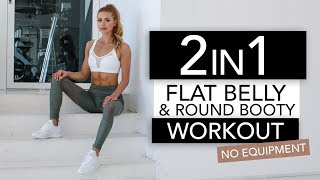 2 in 1 - FLAT BELLY & ROUND BOOTY WORKOUT  // No Equipment   Pamela Rf