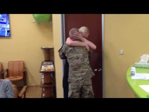 Sister Can't Stop Hugging Her Brother After He Surprises Her By Coming Home From Afghanistan Early video