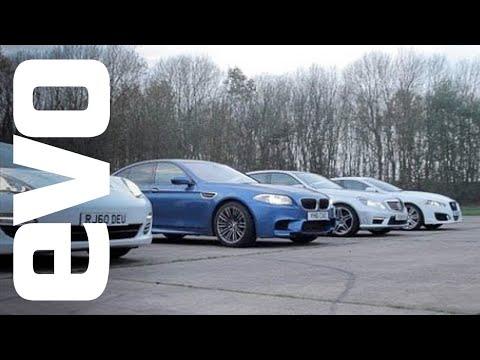 Drag race- BMW M5 v Porsche Panamera S v Mercedes E63 AMG v Jaguar XFR - evo exclusive