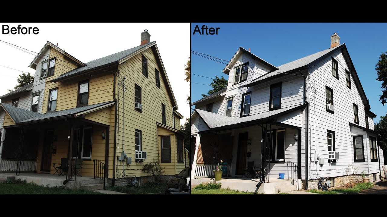 Exterior transformation of our house built in 1886 yellow to gray youtube House transformations exterior