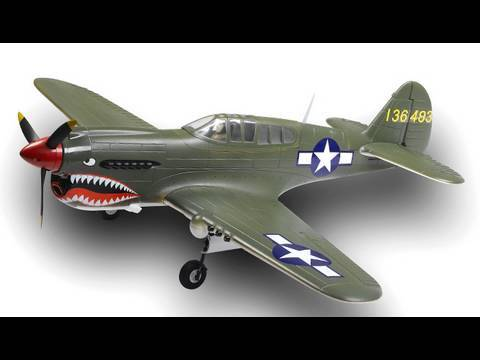 Giant Airfield P40 Warhawk Unboxing w/ 2.4ghz 6ch Radio and Retracts lipo brushless