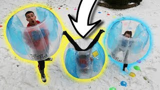 STUCK INSIDE SUMO BUBBLE BALLOON SUITS!! Family Challenges In The Snow