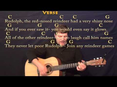 Rudolph the Red-Nosed Reindeer - Strum Guitar Cover Lesson in C with Chords/Lyrics